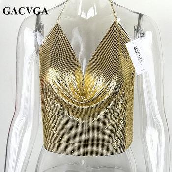 GACVGA 2020 Sexy Backless Sequins Women Crop Tops Halter Tank Camis Summer Cropped Bra Crop Top Strap Ladies Party Vest Blusa 2