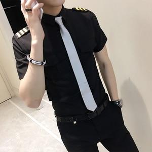 Image 2 - Stewardessen Kleding Lente Mannen Korte Mouw Zomer Slim Fit Casual Heren Shirts 6XL S Camisa Masculina Zwart/Wit