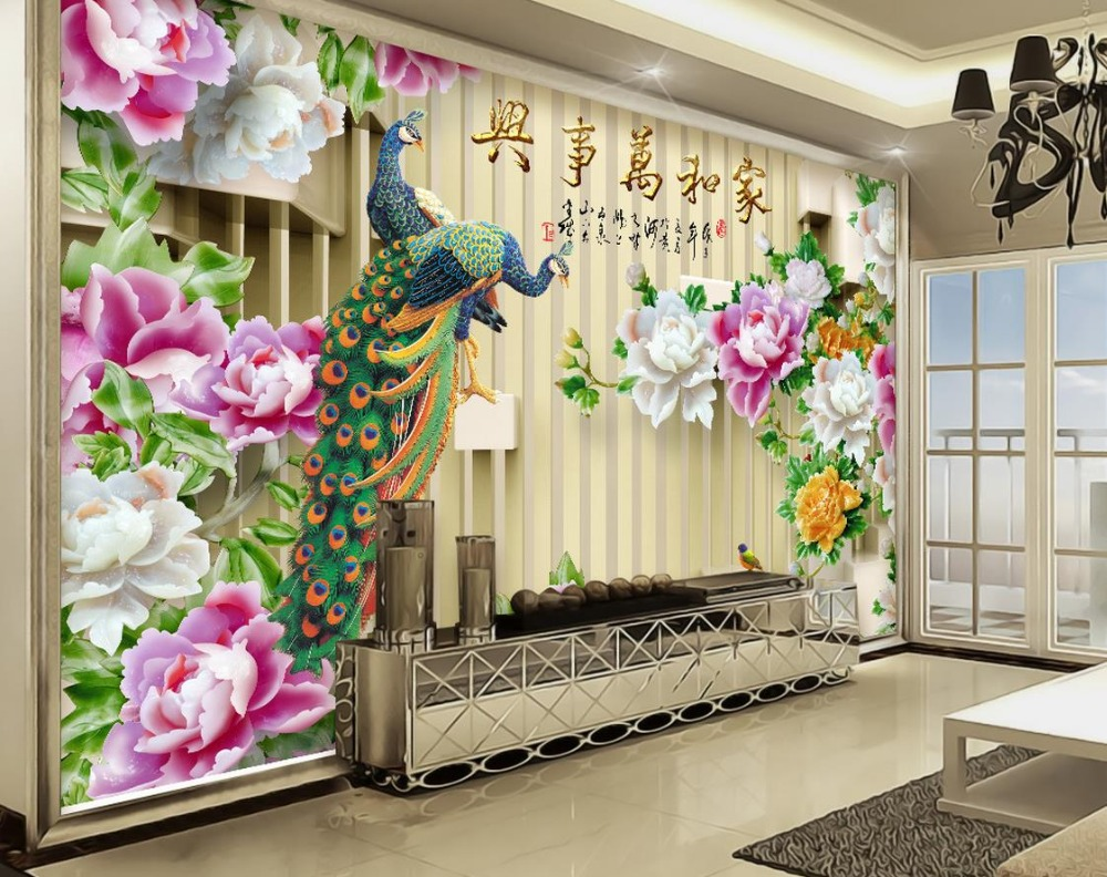 3d wallpapers for wall 3d stereoscopic photo wallpaper murals Custom Jade carved peony peacock 3d wallpaper living room custom nonwoven wallpaper pink peach peacock 3d room wallpaper landscape background wallpapers brick wall murals