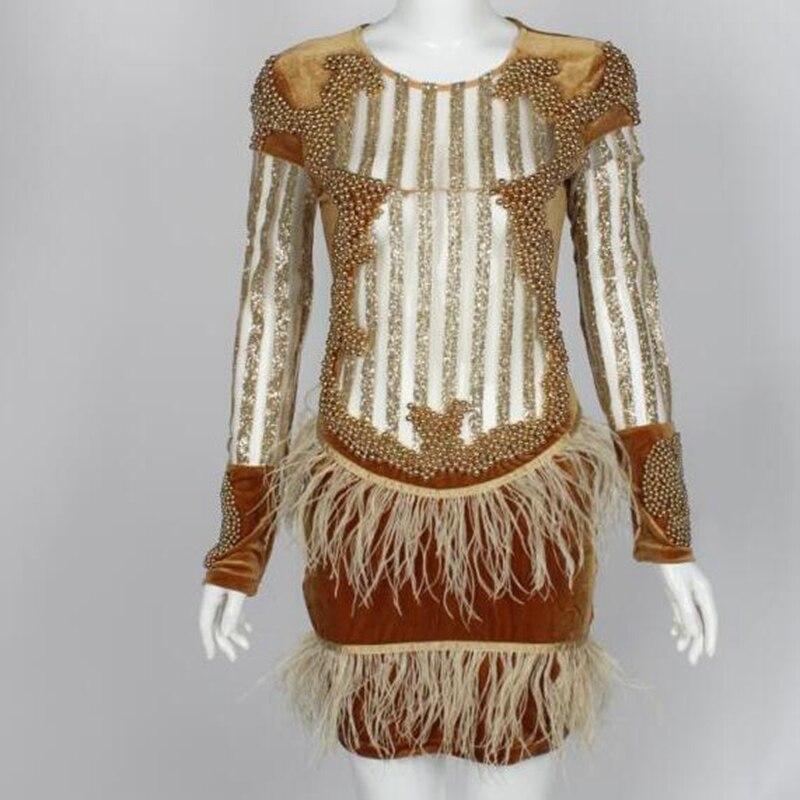 Soirée De Manches Pic Dames À Luxe Longues Maille Perles Robe Mini Club As Gland Moulante Sexy Celebrity 2017 Festa Robes Rw7EA1qq5