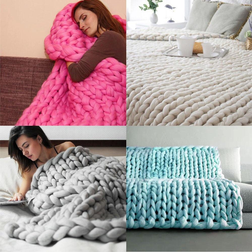 Hand Knitting Merino Wool Blanket : Ishowtienda hand chunky knitted blanket thick yarn