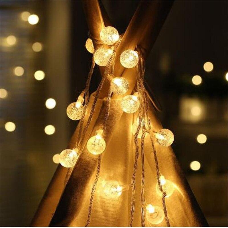 3,0 В 3 м 20 светодиодный Бурлящий шарик огни строки свадьба для рождественской вечеринки украшения Фея огни строки лампа Батарея работает ...