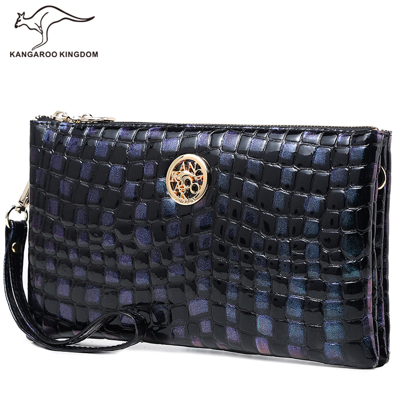 KANGAROO KINGDOM famous brand women bag patent leather lady clutch small shoulder messenger bags lady patent leather crocodile messenger bags new arrival fashion small pu leather shoulder crossbody bag women clutch