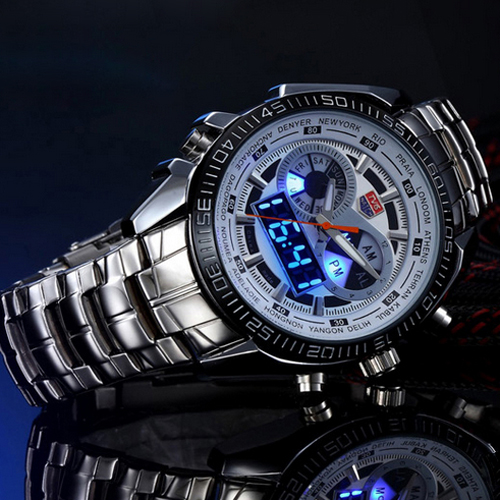 Hot TVG Male Sports Watch Men Full Stainless Steel Vattentät Quartz - Herrklockor - Foto 2