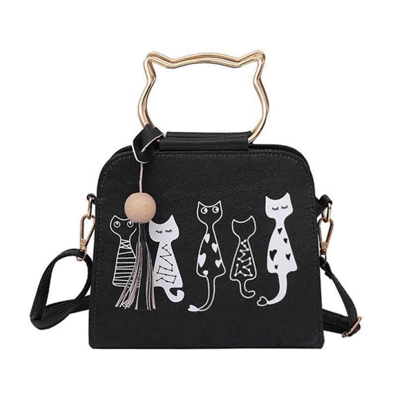 MOLAVE Fashion 2017 New female bag quality pu leather Cat Print Bag For women wild shoulder messenger bag Quilted Flap Bags AU21 quilted design pu shoulder bag