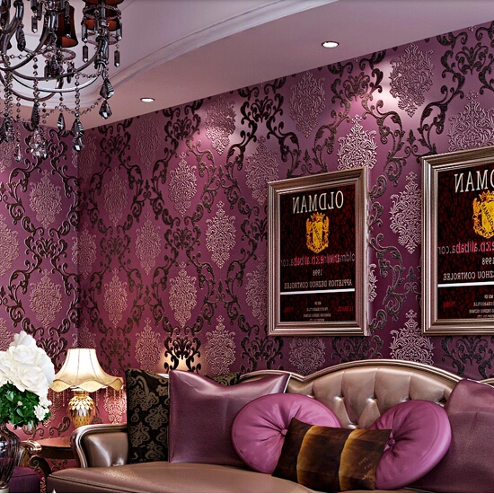 Papel de parede european luxury purple 3d stereoscopic for Purple living room wallpaper