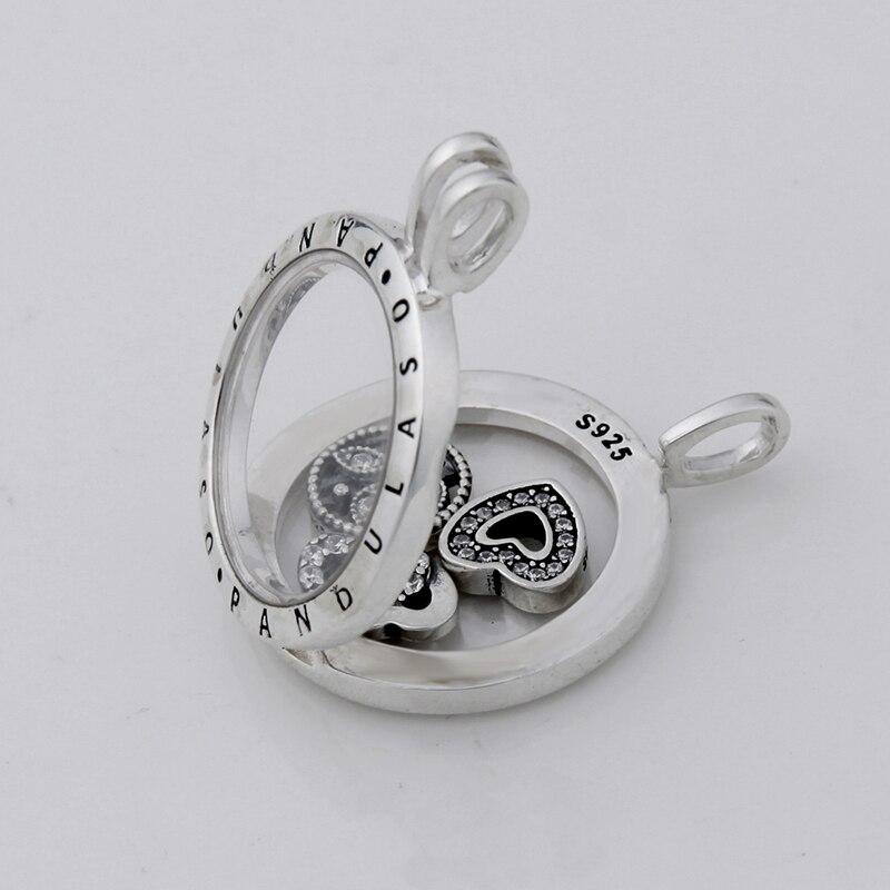 Pandulaso Amour Famille Petites Flottant Médaillon Collier et Pendentif pour les femmes DIY collier 925 bijoux en argent sterling chaîne - 2