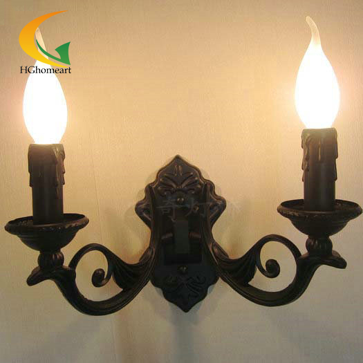 antique continental wall sconce candle wall sconce twin headlight bedroom lamp pastoral bedside lamp mirror front
