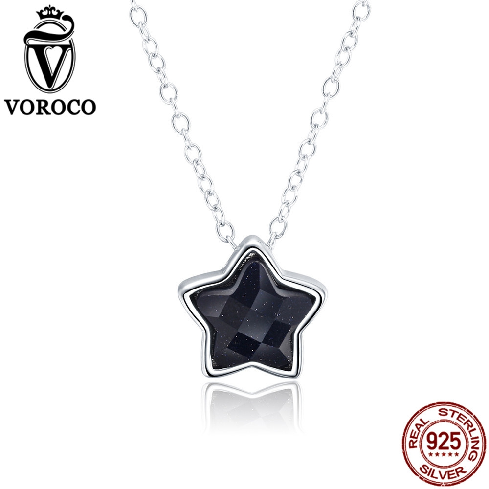 VOROCO Pure 925 Sterling Silver Goldstone Aventurine Stone Chian Star Necklaces & Pendants For Women Wedding Fine Jewelry VSN043