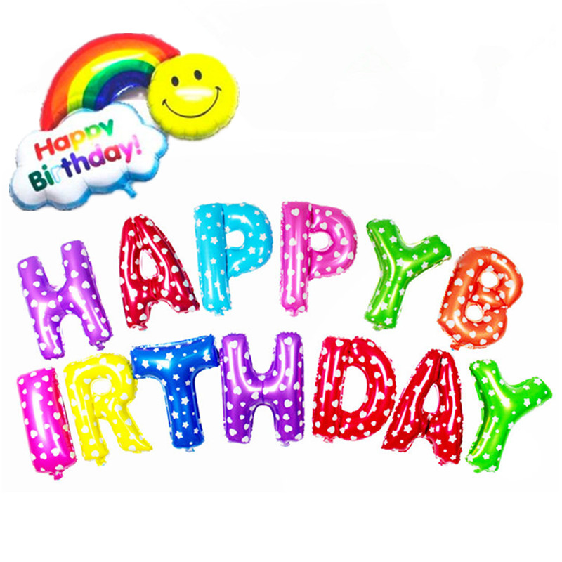 16 inches Multicolour Letter HAPPY BIRTHDAY Balloons Smile Rainbow Foil Balloons