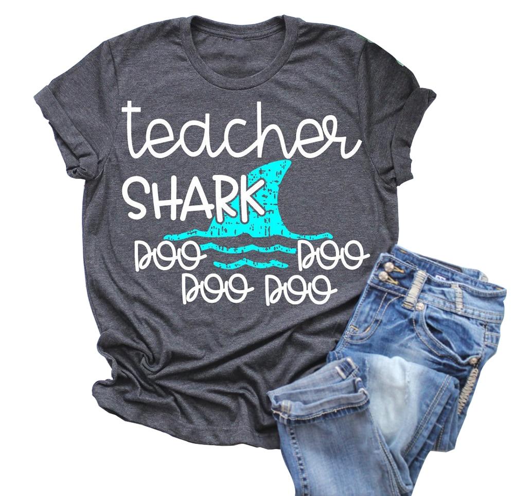 Hipster Short Sleeve Women Teacher Shark T-Shirt Camiseta Mujer Summer Luxury Designer Baseball Tee Plus Size Aesthetic Top T