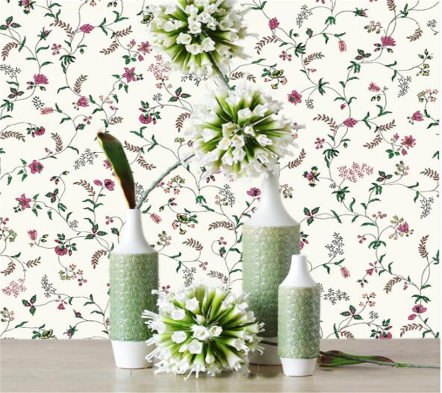 Beibehang Fashion wallpaper garden flowers fresh pure paper wallpaper living room TV desktop background Wallpaper roll tapety