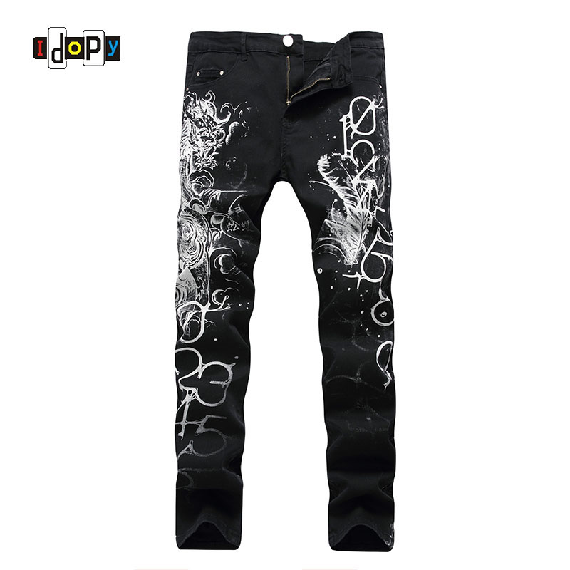 где купить Cool Men`s Dragon Printed Jeans Hip Hop Painted Slim Fit Elastic Black Male Denim Trousers Pants Punk Gothic Jean Jeans For Men по лучшей цене