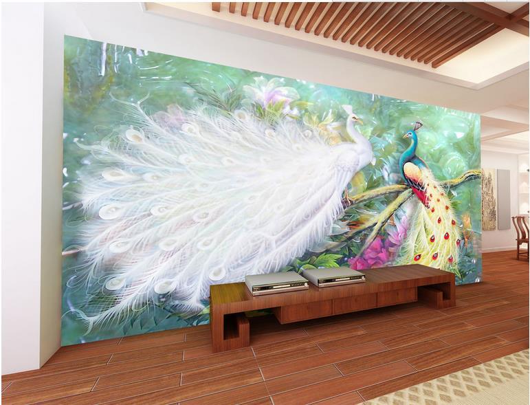 custom 3d wallpaper photo murals TV backdrop jade peacock wall