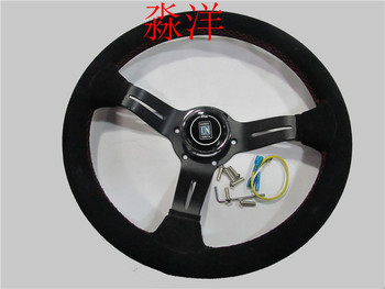 330mm 13 Cal ND Drift Rally Racing Suede Sport kierownica czerwonej linii tanie i dobre opinie 60mm china NoEnName_Null racing sports leather FRONT