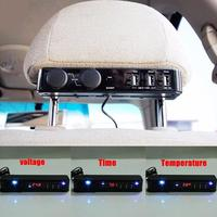 Car Cigarette Lighter USB For Car Phone Charger Headrest Temperature Voltage Display Rear Back Seat Mobile Phone Charger DC 12V