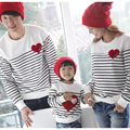 New 2016 Fashion Family Pack Set Father and Son Cotton T-shirt Clothes Mother and Child Matching Striped T shirt Tops