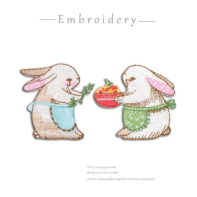 Diy Handmade Embroidered Patch: 1 PC Handmade Embroidered Cute Rabbit Patches Cute Animal