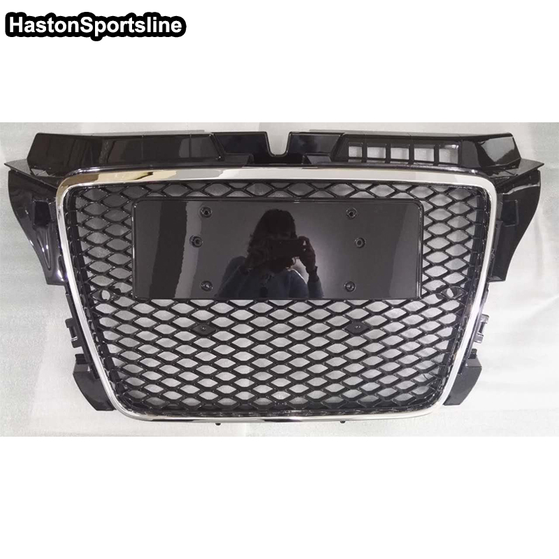 A3 RS3 Style Chrome Frame Black Front Middle Grill Grille For Audi A3 S3 RS3 S LINE 2009 2010 2011 2012