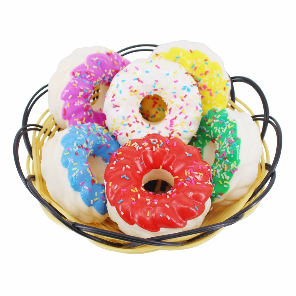 Greatflower Flatback Resin Cabochon Simulation Donut Double Color Doughnut Dollhouse Deco Parts Hair Bow DIY Artificial