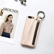 Мода Личи кожаный кошелек на молнии чехол для iPhone 7 7 Plus для iPhone 6 plus 6S 6S Plus круг кольцо Леди Style