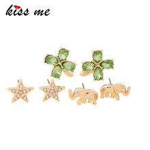 KISS ME 3 Pairs / Set Green Crystal Flower & Rhinestone Star & Gold Color Elephant Stud Earrings Fashion Jewelry(China)