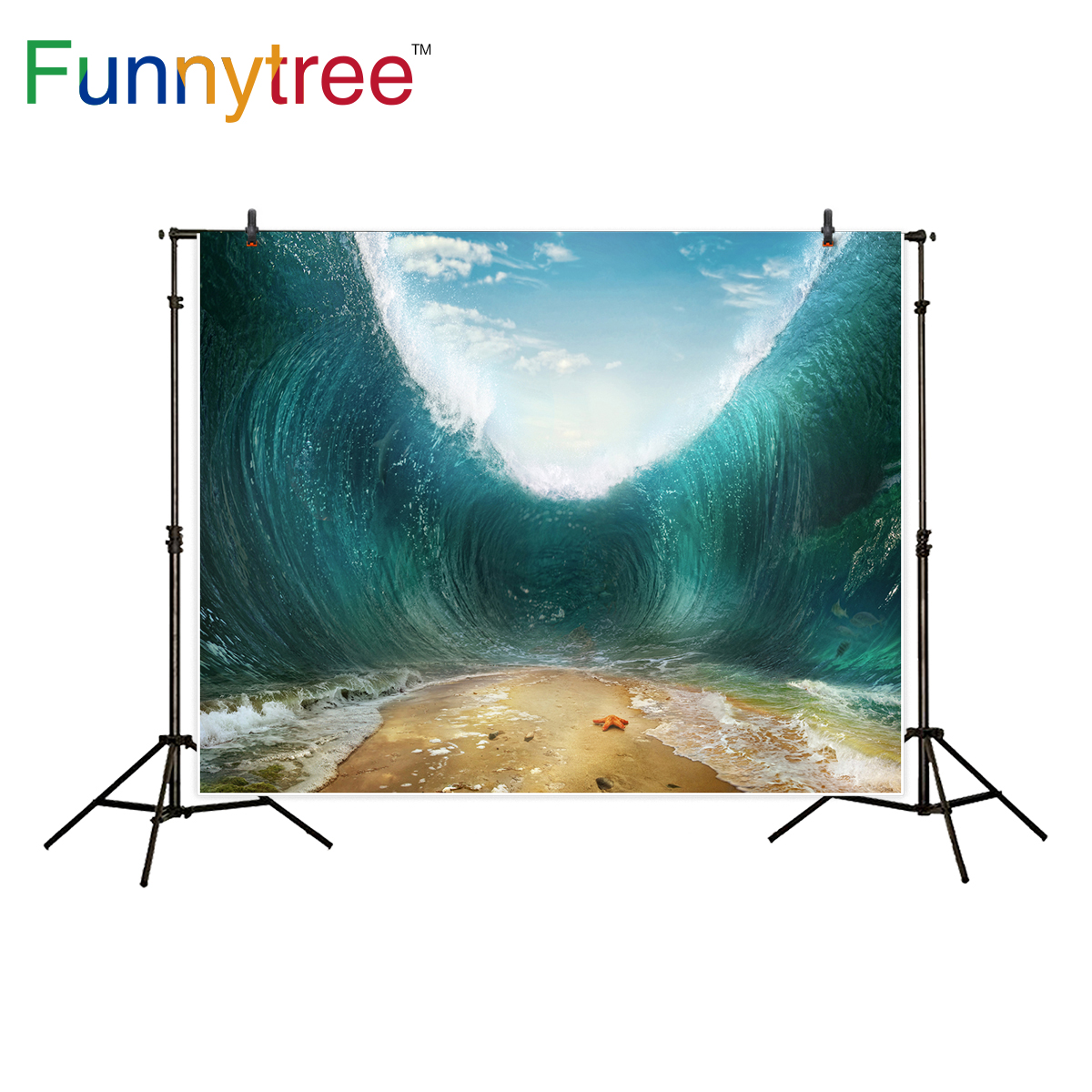 Funnytree professional photography background Sea Waves beach sky ocean photographic accessories backdrop photocall