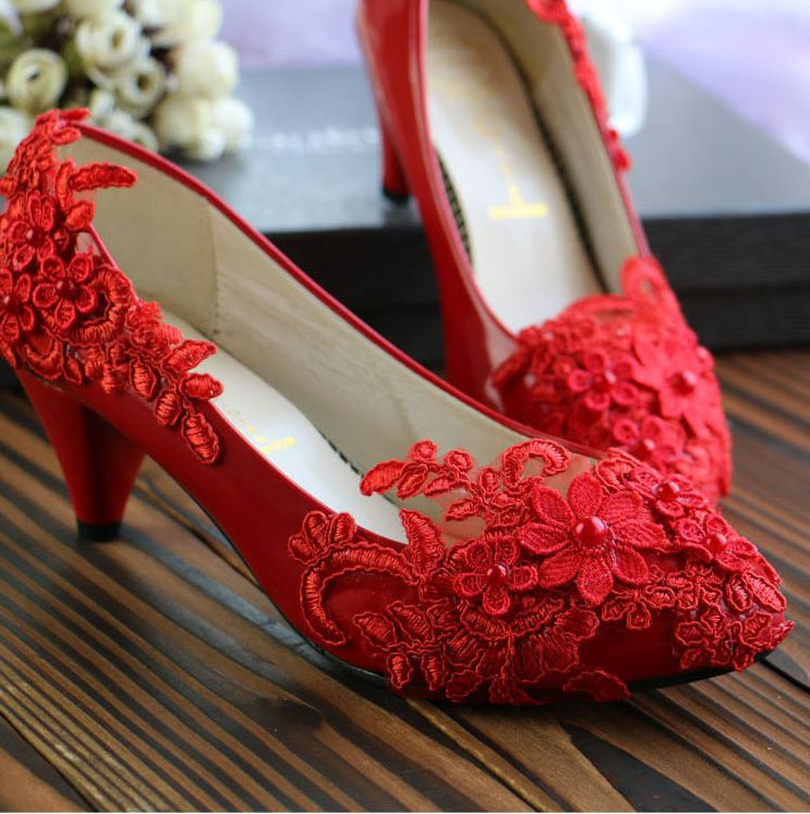 ФОТО Handmade ready in stock red lace pumps shoes for women custom make different heels sexy lace wedding party dress shoes