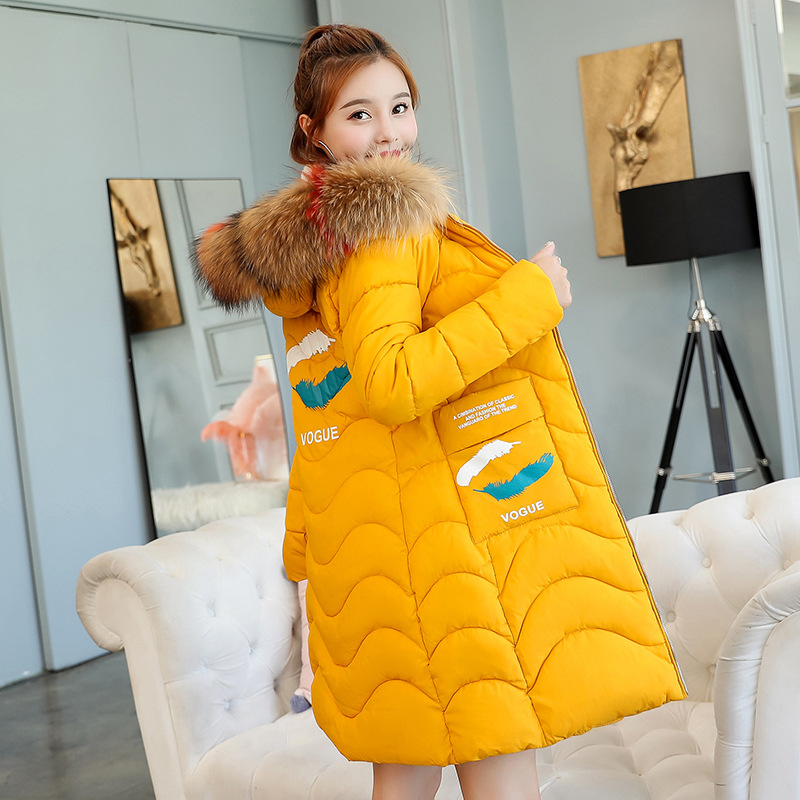 Collar Black Hood Faux Feather Coat Print Girls Fur yellow Jackets Quilted Outwear Black Color Parka 2018 Women Winter ed Contrast Pink Long pink orange zIqRYFS