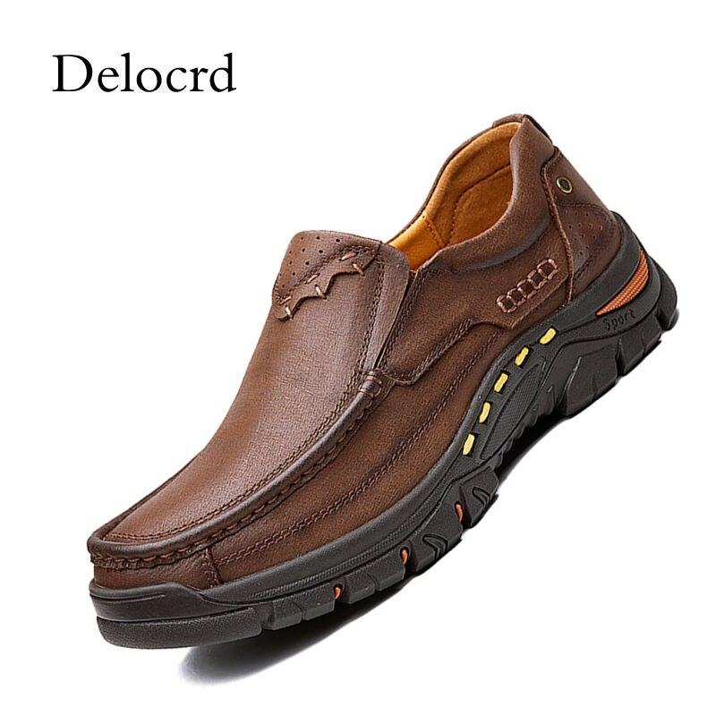 High Quality Men Full Grain Leather Men Flats Shoes H No-Slip Rubber Sole Leather Men Moccasins Shoes Outdoor Footwear