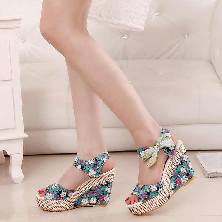 Hot Women Summer Wedge Sandals Female Floral Bowknot Platform Bohemia High Heel Sandals Fashion Ankle Strap Open Toe Ladies Shoe
