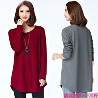 Plus size cotton women's fat casual t-shirt fat T shirt female autumn loose 2017 solid color O-neck tops long sleeve long tees