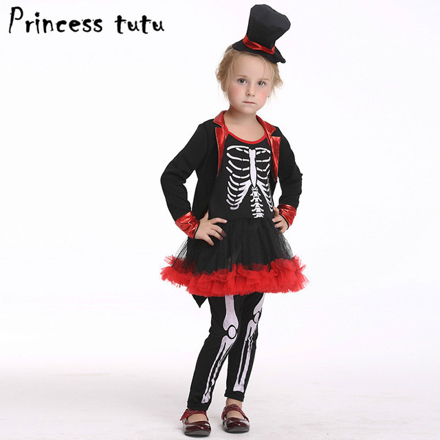 princess tutu children skeleton vampire costumes halloween costume for kids girls dresses hat sets carnival party