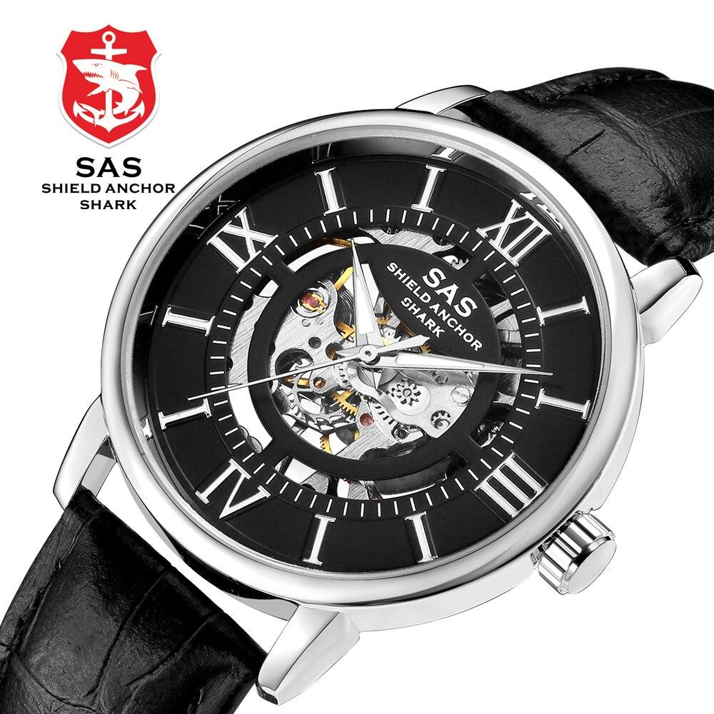 SAS bouclier ancre requin Sport montre Royal Vintage Style creux squelette mécanique montres hommes or affaires montre bracelet en cuir
