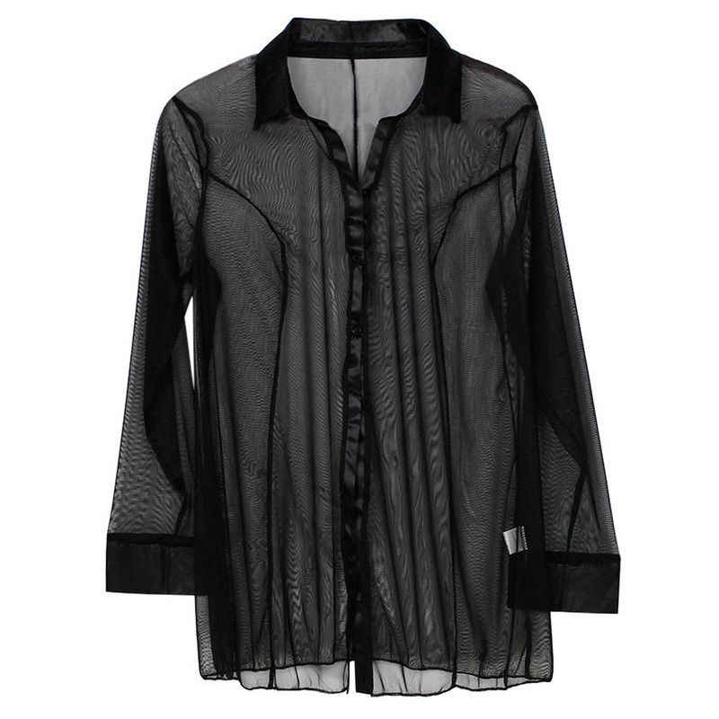 Женская блузка, черные/фиолетовые топы, Прозрачная женская, с длинным рукавом, Клубная, Прозрачная женская рубашка, ночная рубашка, S-2XL