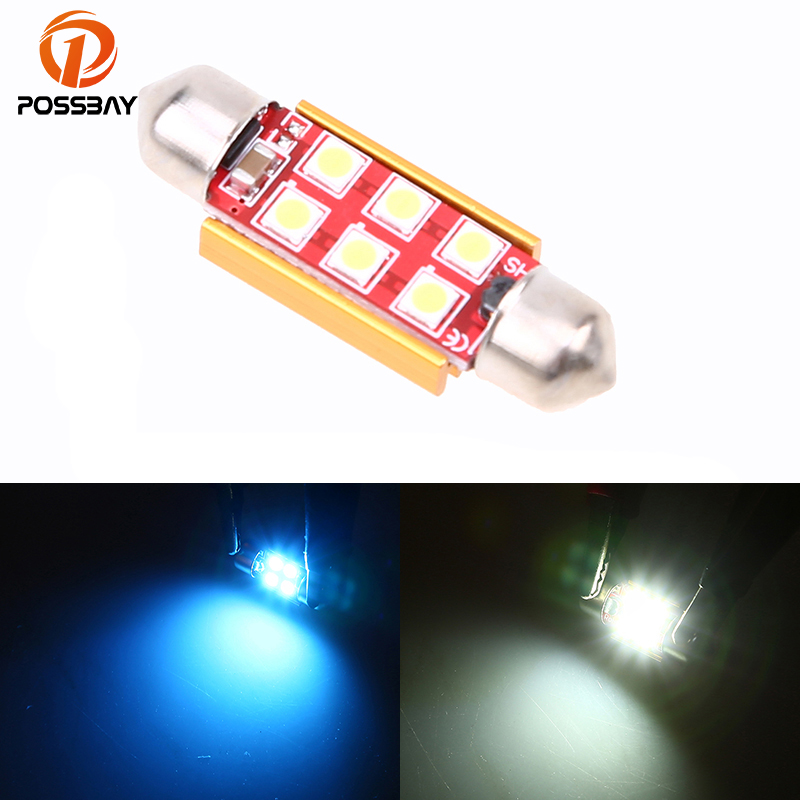 POSSBAY 1Pcs 31/36/39/41mm 3030 4/6LED CANBUS Error Free Car Festoon Dome Light Reading  ...