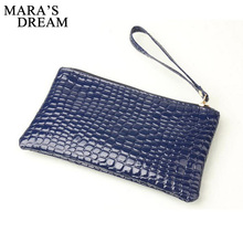 2017 New Fashion Handbag Womens Crocodile PU Leather Zipper Solid Colors Clutch Handbag Bag Coin Purse Crocodile purse Clutch