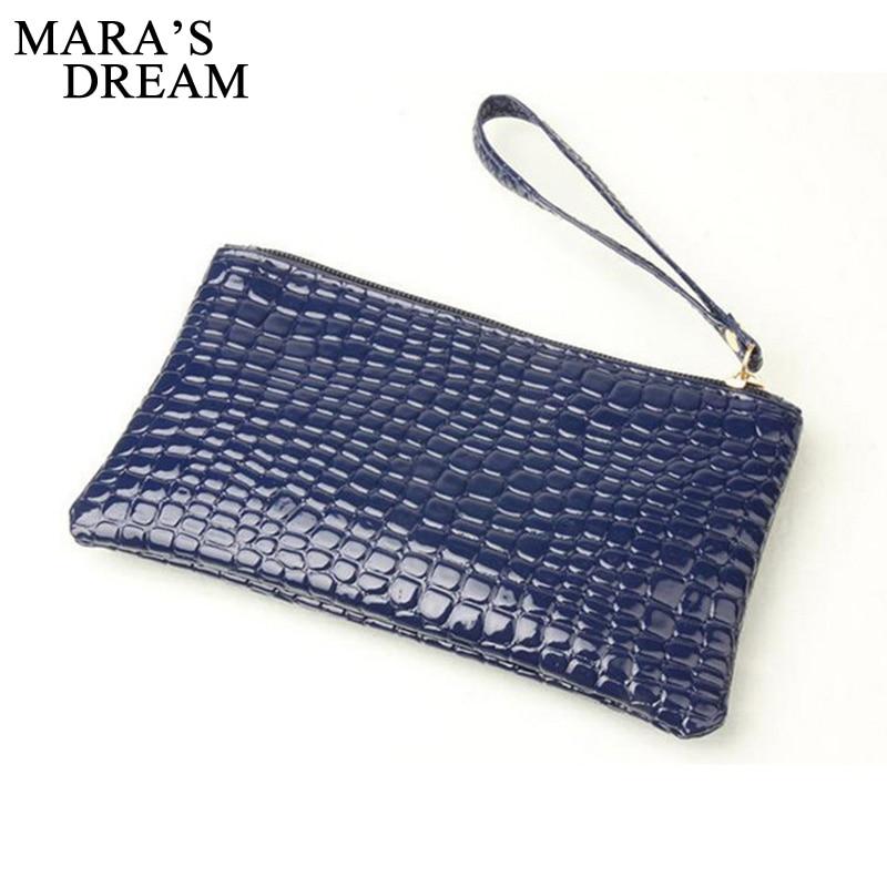 2018 New Fashion Handbag Womens Crocodile PU Leather Zipper Solid Colors Clutch Handbag Bag Coin Purse Crocodile purse Clutch