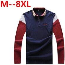 10XL 9XL 8XL 6XL spring autumn Men's polo shirt busines casual solid polo shirt brand men's Long sleeve polo camisa polo shirt