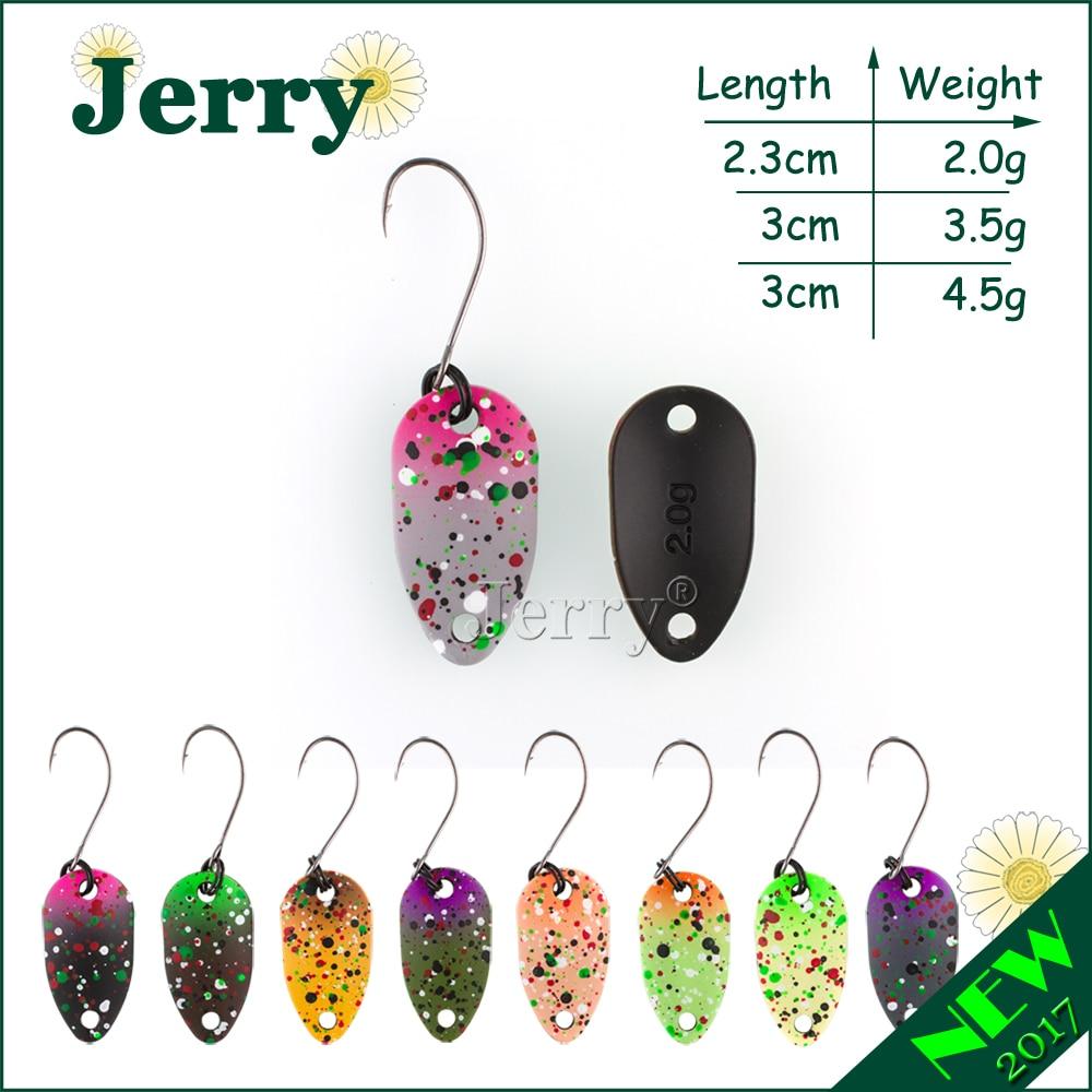 Jerry pesca divas sānu krāsas mikro makšķerēšanas karotes foreles karote wobbler makšķerēšana lures spinner ēsmu