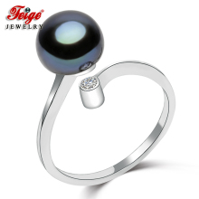 Classic 925 Sterling Silver Pearl Ring for Women Party Jewelry Gifts 8 9MM Black Freshwater Pearl