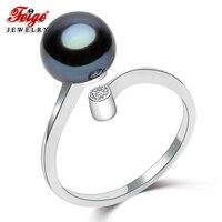 FEIGE Estilo Oficina 8-9mm Negro Perla de Agua Dulce Del Anillo de la Alta calidad 100% de Plata de ley 925 Anillos para Las Mujeres Joyería Fina de bijoux