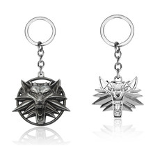 Game The Witcher 3 Wild Hunt Medallion Keychain Vintage Metal Wolf Head Alloy Car Key Holder Chain Pendant Keyring Jewelry Gift(China)