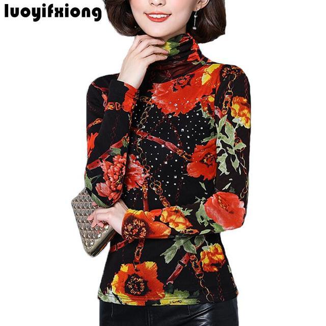 db0659788f9 2018 Autumn Winter Turtleneck Lace Blouse Floral Print Women Blouses  Cashmere Warm Lace Shirts Slim Long Sleeve Women Tops M-5XL
