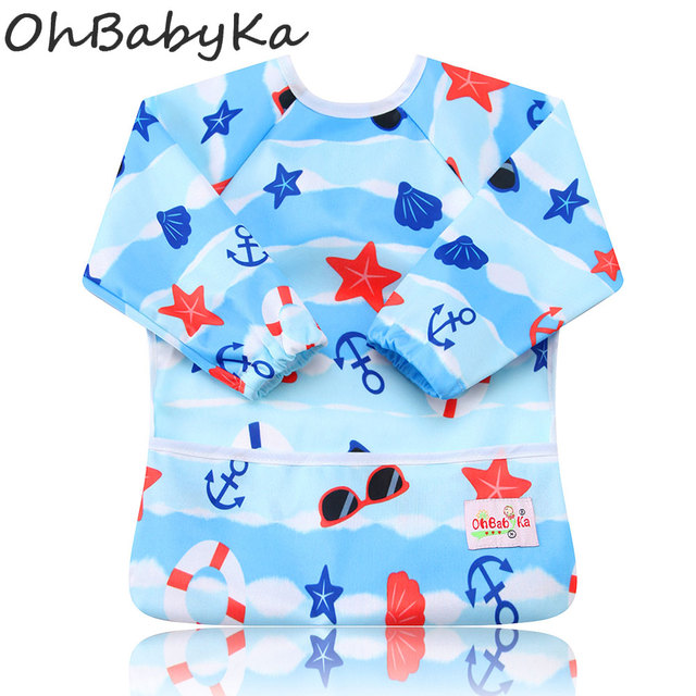 Ohbabyka Baby Bibs Flamingo Print Baby Girl Feeding Clothes Baby Accessories Boys Bibs Long Sleeve Boy Girl Bibs & Burp Cloths
