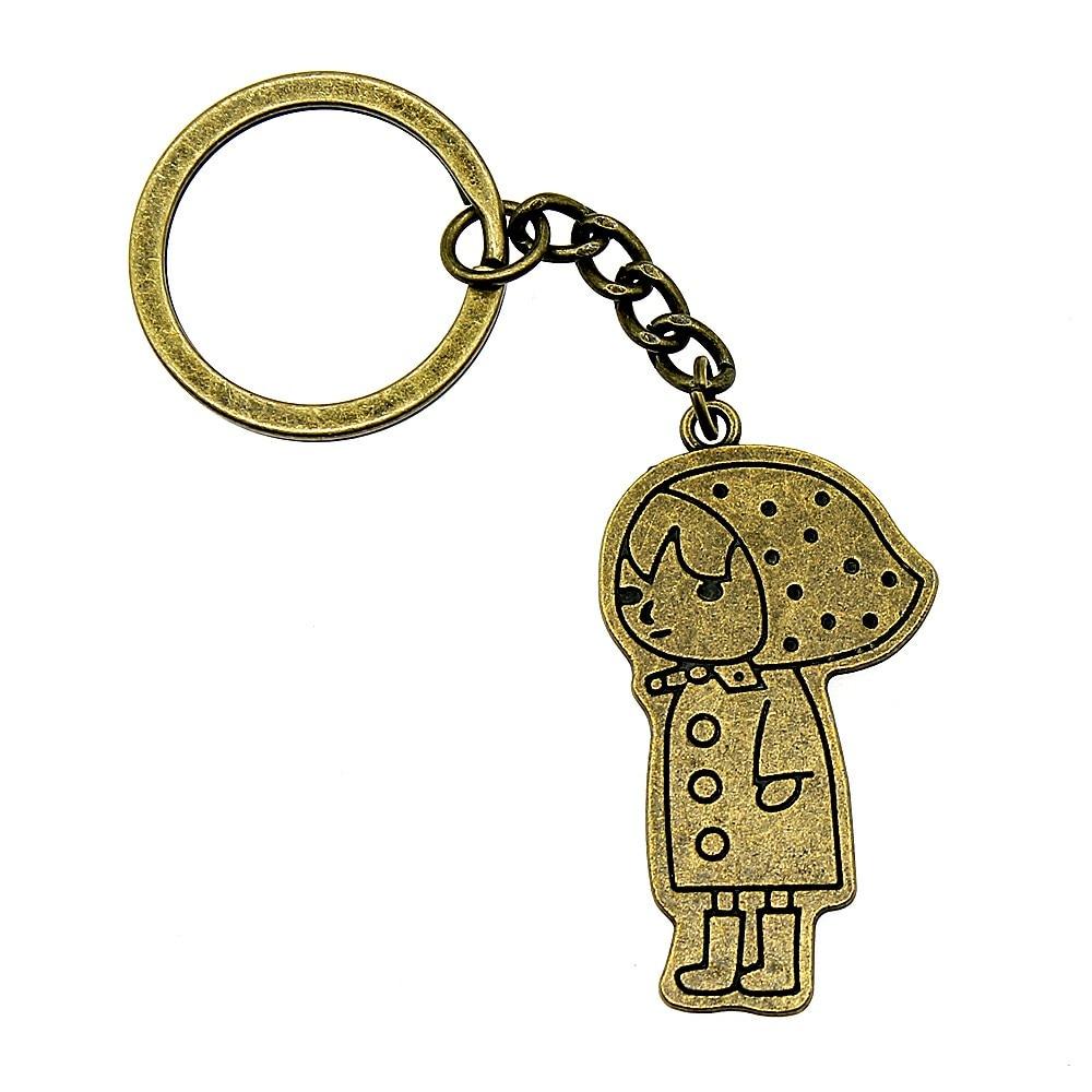 1 Stück Auto Keychain Mädchen Geburtstag Partei Liefert Neue Jahr Geschenke 45x24mm Anhänger Antike Bronze