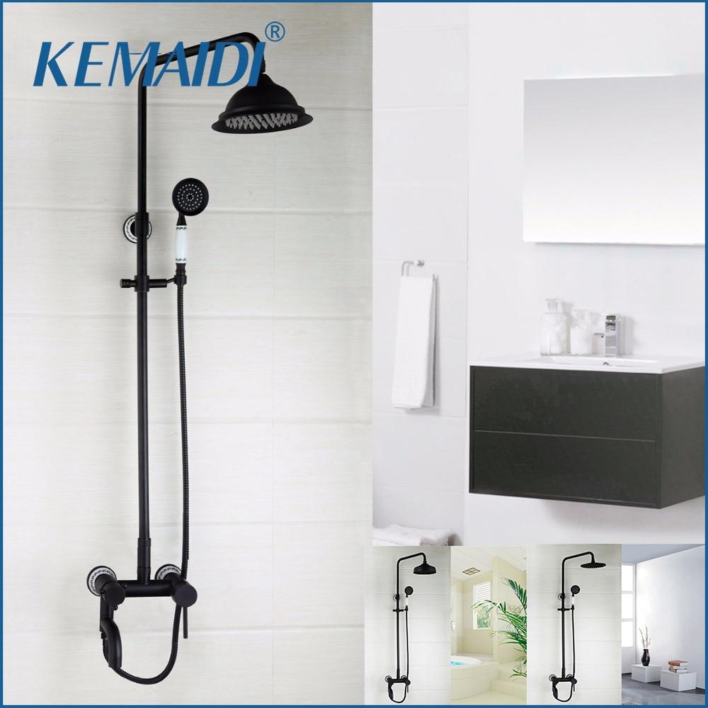 KEMAIDI Wall Mounted ORB Bathroom Shower Faucets Bathroom Shower Faucet Mixer Tap With Hand Shower Head Shower Faucet Set new shower faucet set bathroom thermostatic faucet chrome finish mixer tap handheld shower wall mounted faucets