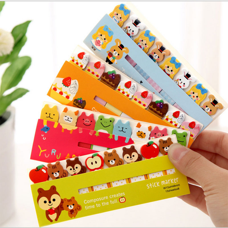 2pcs/lot Kawaii Sticky Notes Post Memo Pad School Supplies Bookmark Tab Flags Memo Book Marker Korean Stationery