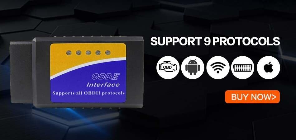 V1.5 Elm327 Bluetooth Adapter Obd2 Elm 327 V 1.5 Auto Diagnostic Scanner For Android Elm-327 Obd 2 ii Car Diagnostic Tool 1
