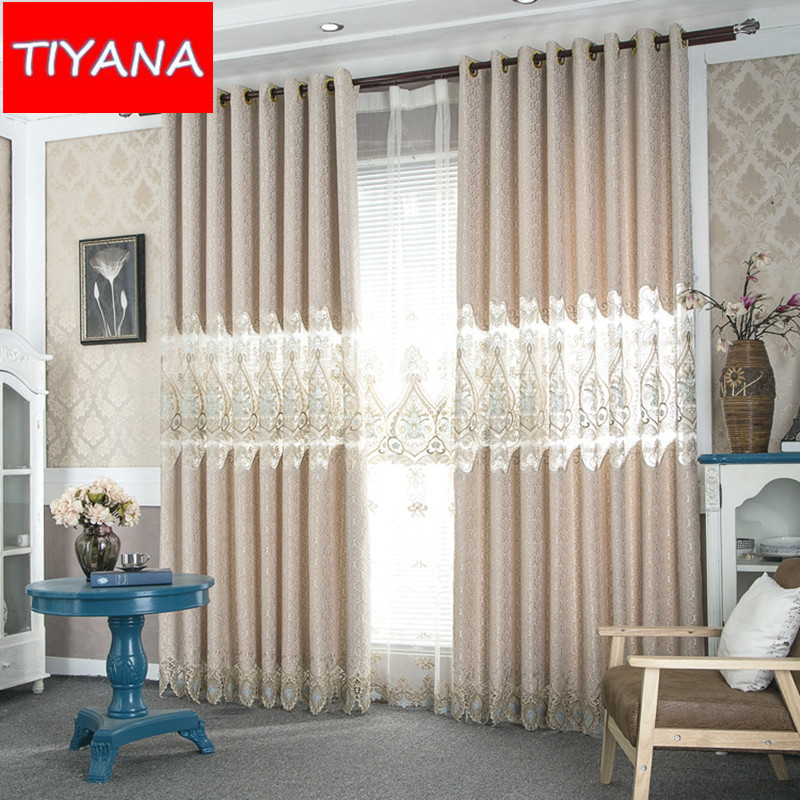 High Quality Luxury Window Curtains European Blinds Ready Made For Living Room Bedroom Embroidered Tulle